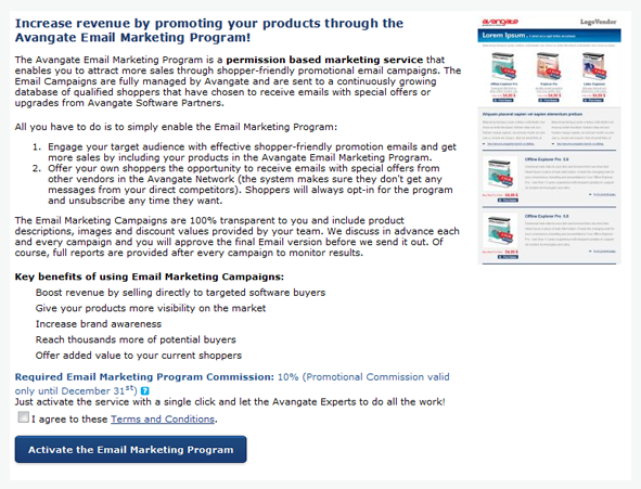 Email marketing program