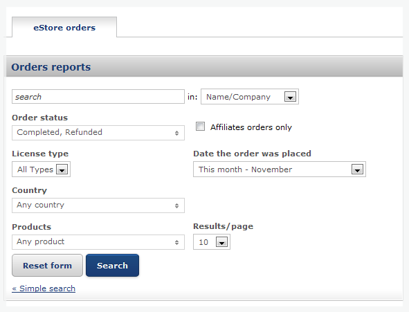 Order and customer reports