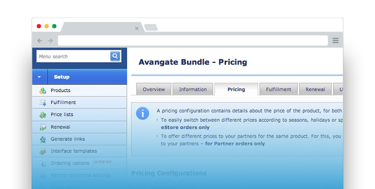 Deploy complex pricing schemes simply with the most advanced product catalog available